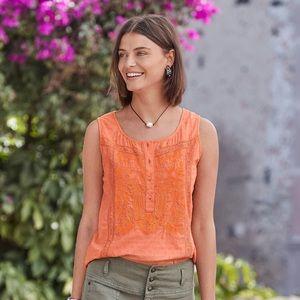 Sundance Mariana Tank Orange Eyelet Floral Sz
